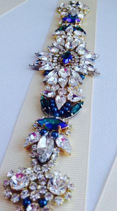 KNR Handmade Crystal Emerald Green Jewel Sash - Vintage Wedding - One of a Kind Hand Stitched