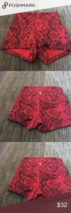 Boogie short Lululemon size 4 boogie short roll down red and black reptile inspired print. Non-smoking home worn once. lululemon athletica Shorts