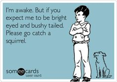 I'm awake. But if you expect me to be bright eyed and bushy tailed. Please go catch a squirrel.