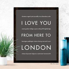 London travel art print. Pin for later!  I Love You From Here To LONDON art print