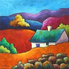 The Shieling Puzzle created by Clarkmega Image copyright: Gillian Mowbray Landscape Quilts, Colorful Paintings, Naive Art, Whimsical Art, Acrylic Art, Painting Inspiration, Art Images, Watercolor Paintings, Acrylic Paintings