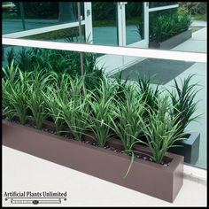 """Lush Grass Hedge in Fiberglass Planter 48""""Lx8""""Wx26""""H, Outdoor Rated $496.85 PRICY!! love this type of grass though. Will try to find similar grass without the fiberglass. Awesome website for ideas!"""