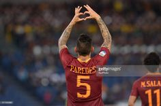 Leandro Paredes celebrates after his score a goal during the Italian Serie A football match between A. Roma and U. Palermo at the Olympic Stadium in Rome, on october October 23, Football Match, Palermo, Olympics, Goals, Stock Photos, Celebrities, Sports, Pictures