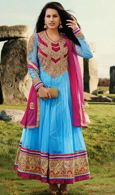 Aqua Blue and Magenta Georgette Long Anarkali Suit Price: Usa Dollar $152, British UK Pound £90, Euro112, Canada CA$165 , Indian Rs8208.