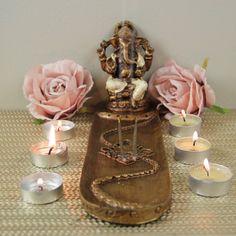 Large, 5 slot incense holder Incense Holder, Ganesha, Slot, Cream, Creme Caramel, Ganesh