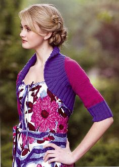 Ravelry: Two-Tone Ribbed Shrug pattern by Stefanie Japel