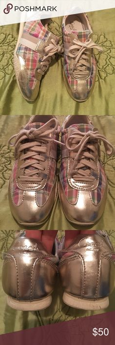 Gold Coach Sneakers Worn 2x excellent condition. Size 6 Kinsley Coach Sneakers. Coach Shoes Sneakers