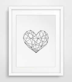 Geometric Heart Modern Decor Digital Prints Geometric Art Printable Wall Decor Scandinavian Poster Geometric Poster Instant Download (7.00 USD) by MelindaWoodDesigns
