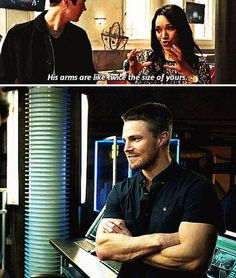 Twice the size of yours.the ability of flash and arrow to steal the affection of the one the other loves. Arrow Cast, Arrow Tv, Arrow Quote, Stephen Amell Arrow, Arrow Oliver, The Cw Shows, Dc Tv Shows, Flash Crossover, Superhero Shows