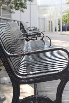 Unique perspective of lines on a park bench