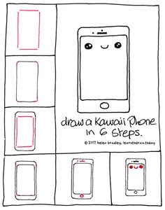 Learn to draw a kawaii iphone in 6 steps cartoon drawings, cute drawings, drawing Easy Drawings Sketches, Cute Easy Drawings, Kawaii Drawings, Doodle Drawings, Cartoon Drawings, Doodle Art, Easy Drawing Tutorial, Easy Drawing Steps, Step By Step Drawing