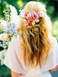 Boho bride's long down bridal hair ideas Toni Kami Wedding Hairstyles ♥ ❶ flower crown corona halo