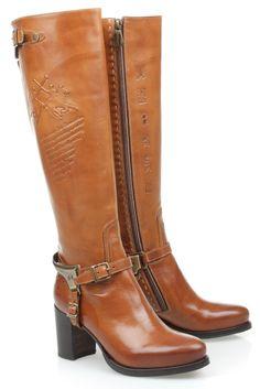 2aea44b78d4 La Martina Lange rijlaars op hak in Cognac (L3152) Zapatos De Polo, Botas