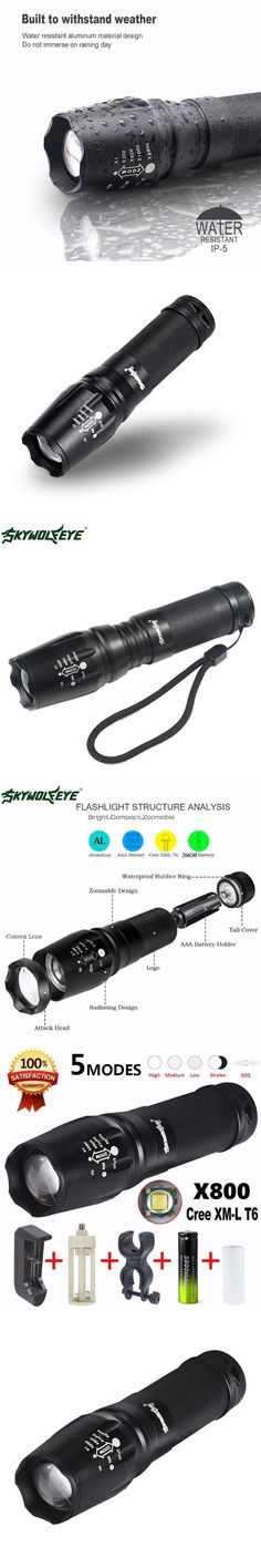 1Set Bicycle Light With Rechargeable Battery AC Adapter Cycling Bike Front Headlight 5 Mode LED Waterproof + Torch Holder F16