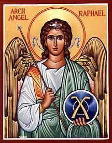 St. Raphael the Archangel (One of the principal angels in Judeo-Christian angelologies, accorded the rank of archangel) Patronage: the blind; happy meetings; nurses; physicians; travelers -spreadjesus.org