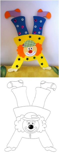 Clown tinker with children from construction paper, toilet rolls, paper plates and Co. construction paper clown tinker template run on hands Clown Crafts, Circus Crafts, Carnival Crafts, Winter Crafts For Kids, Winter Kids, Paper Crafts, Diy Crafts, Circus Theme, Circus Clown
