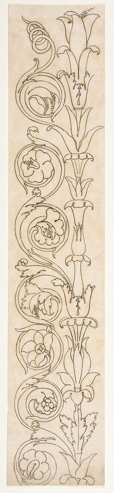 Candelabrum. Ornamental drawings (recto) blank (verso) Drawn by Anonymous, French, 16th century