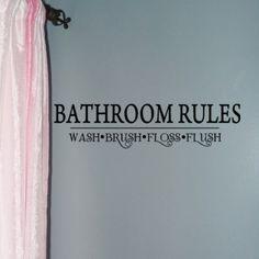 Bathroom Rules word Decals Wash Brush Floss Flush Vinyl wall decor