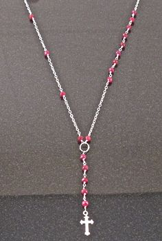 Lariat  Sterling Silver Or 14K Gold Ruby Cross by HouseofHall, $80.00