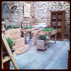 Dentro de nuestra tienda hemos querido destinar un rincón a la huerta. Mesas; huertos escalonados; huerto-pallets; plantas comestibles; tierra para semilleros; plantón ..........