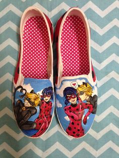 Miraculous Ladybug-Chat Noir X Ladybug shoes by KustomKicksDesings