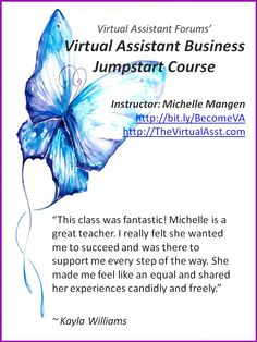 Virtual Assistant Training Course Feedback from Kayla Williams (The Support Hive) http://www.thevirtualasst.com/virtual-assistant-training