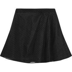 Karl Lagerfeld Edita polka-dot silk-chiffon mini skirt ($148) ❤ liked on Polyvore featuring skirts, mini skirts, black, karl lagerfeld, black miniskirt, silk chiffon skirt, short mini skirts and black polka dot skirt