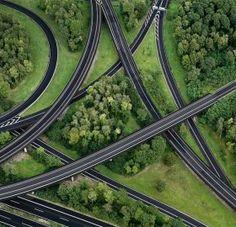 aerial view of highway interchange, germany