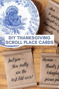 Show your gratitude for family members by making these personalized DIY Thanksgiving place cards. The miniature farmhouse scrolls can be printed or hand lettered. Thanksgiving Place Cards, Thanksgiving Projects, Thanksgiving Tablescapes, Thanksgiving Recipes, Diy Home Decor Projects, Diy Craft Projects, Craft Tutorials, Holiday Crafts, Holiday Fun