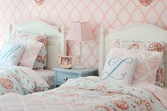 Annabel Duvet Cover and Euro Shams, Trellis Sheet Set in Shell, Diamond Quilt and Sham in Pink, and Script Letter Pillows in Aqua: Serena & Lily