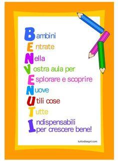 Billboard-welcome-Schule - Makeup For Eyes Back 2 School, 1st Day Of School, Beginning Of School, Primary School, Middle School, Italian Grammar, Italian Language, Curriculum, Homeschool