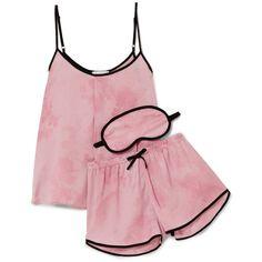 DKNY New View printed satin pajama set ($60) ❤ liked on Polyvore featuring intimates, sleepwear, pajamas, baby pink, dkny pjs, satin pajamas, long pajamas, satin sleepwear and satin pajama set