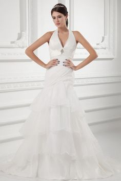 Organza Halter Neckline A-Line Sweep Train Ruffle Wedding Dress Wedding Dress 2013, Cute Wedding Dress, Fall Wedding Dresses, Colored Wedding Dresses, Bridal Dresses, Bridesmaid Dresses, Dream Wedding, Weeding Dress, Wedding Attire