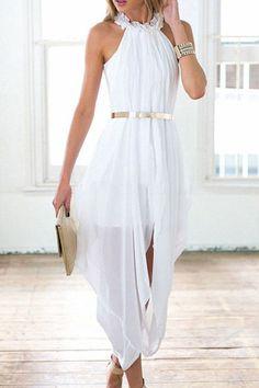 c97300aa4ce Chic Ruffled Neck Sleeveless White See-Through Chiffon Dress For Women