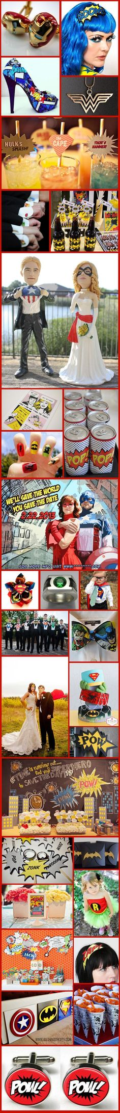 Wednesday Wedding Inspiration: Comic Book Craze. There's no way Tim would agree to this lol.  It's hard being the only geek in the relationship.  I would love to have that Wonder Woman necklace though.:
