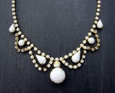 DOLLIE vintage milk glass necklace from VerseLuxe