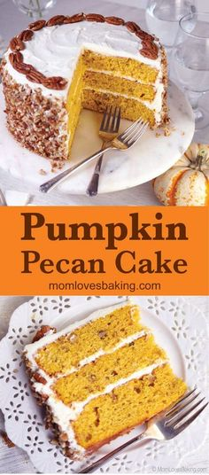 Pumpkin Spice Pecan Cake is three layers of pumpkin infused butter cake with walnuts topped with cream cheese buttercream and pecans for a fantastic Fall recipe your whole family will love. Find lots of pumpkin dessert recipes on MomLovesBaking.com. #pumpkinspice #cake #recipe #fall #dessert