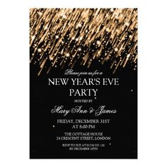 Free new years party invitation party invitation templates elegant new years eve party gold stars sparkles 5x7 paper invitation card stopboris Gallery