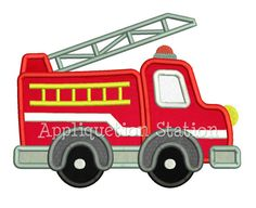 Cute Fire Engine Truck Applique Machine by AppliquetionStation, $3.50