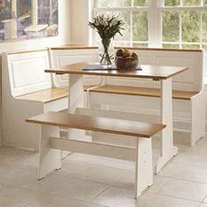 Linon Ardmore Breakfast Nook (White and Pine) 90305WHT-AB-KD-U