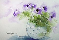 Purple Flowers in Blue Vase Print of Watercolor by RoseAnnHayes