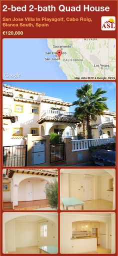Quad House for Sale in San Jose Villa In Playagolf, Cabo Roig, Blanca South, Spain with 2 bedrooms, 2 bathrooms - A Spanish Life Quad, South Spain, Las Vegas, California, Open Plan Kitchen, Private Pool, Dining Area, Really Cool Stuff, Terrace