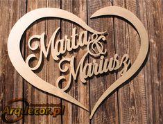 Pracownia Dekoracji ARQ - DECOR - Duże Złote serce z imionami Pary Młodej Marta & Mariusz (NA ZAMÓWIENIE) nr 09 ślub, wesele, dekoracje