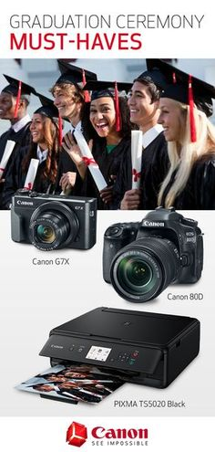 Searching for ways to shoot picture-perfect graduation ceremony photos? Cameras like the Canon PowerShot G7 X and the Canon 80D and a printer like the PIXMA TS5020 are perfectly suited for capturing that all-important moment. Click to learn more.