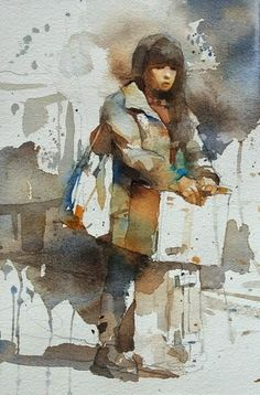 【The girl waiting for the train】Watercolor.By Chien Chung Wei Watercolor Pictures, Watercolor Sketch, Watercolor Portraits, Watercolor Illustration, Watercolor Paintings, Watercolours, Painting People, Figure Painting, Painting & Drawing