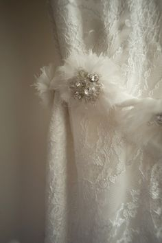 Beautiful organza hand beaded floral bridal belt by NYC wedding gown designer Selia Yang