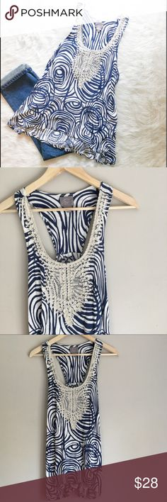 🆕Anthropologie VannessaVirginia Tank Top Anthropolgie's brand Vanessa Virginia blue & white high low tank top. Size Large. Approximate measurements are 29' back length, 26' front length,  & 36' bust. I want to keep this beautiful top for myself! 😭 It's the perfect light weight tank for jean shorts! ❌No trades ❌ Modeling ❌No PayPal or off Posh transactions ❤️ I 💕Bundles ❤️Reasonable Offers PLEASE ❤️ Bundle & SAVE❗️❗️ Anthropologie Tops Tank Tops