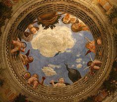 Andrea Mantegna (1431-1506), Ceiling Oculus, Bridal Chamber, Palazzo Ducale, Mantua  L'oculo della volta, Camera degli Sposi, Palazzo Ducale, Mantova