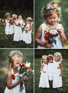 flower crown + cute flower girls + Wedding + Bride - Bridal - Boda - Matrimonio - Mariage