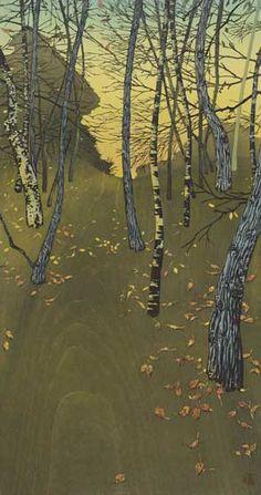 Autumn Asian art Japanese woodblock print by artist Tsuzen Nakajima